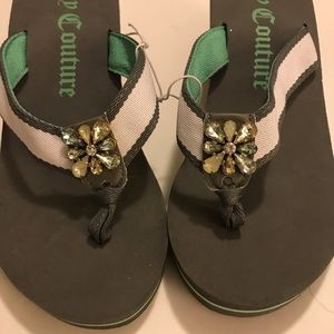 Juicy Couture Green Rhinestone Sandals
